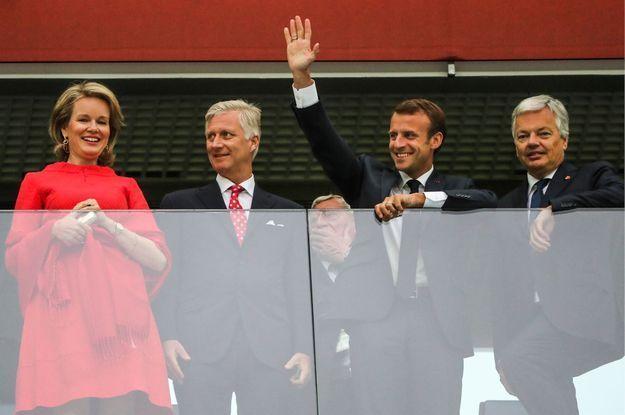 La reine Mathilde et le roi Philippe de Belgique, et Emmanuel Macron