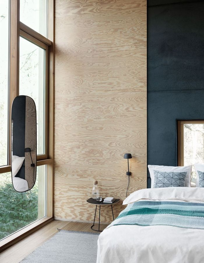 Une chambre bleue scandinave