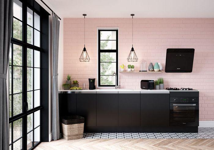 Un mur coloré en rose poudré