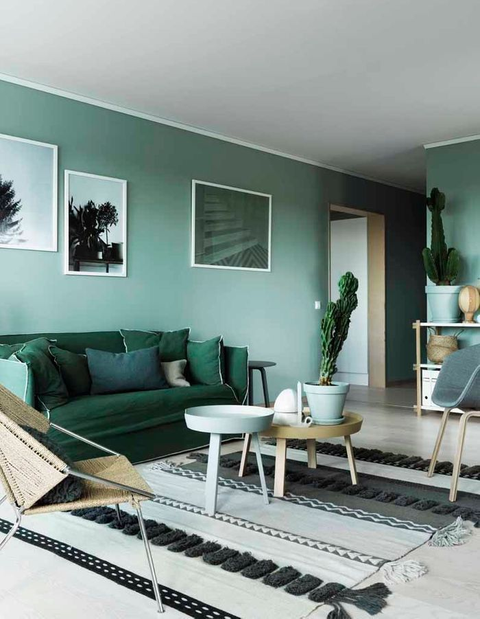 Un mur coloré en vert céladon